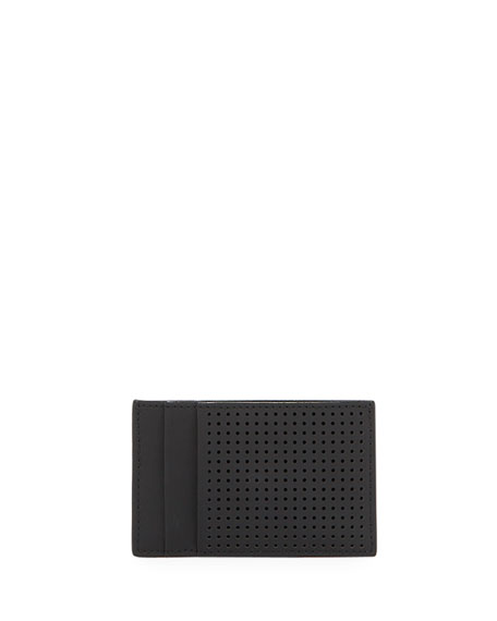Image 2 of 2: Alexander McQueen Men's Perforated Leather Card Case