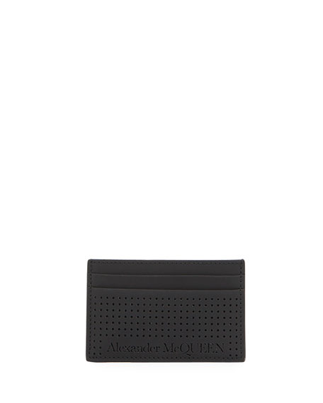 Image 1 of 2: Alexander McQueen Men's Perforated Leather Card Case