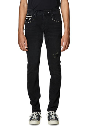 Ovadia Men's Slim Studded Ankle Jeans