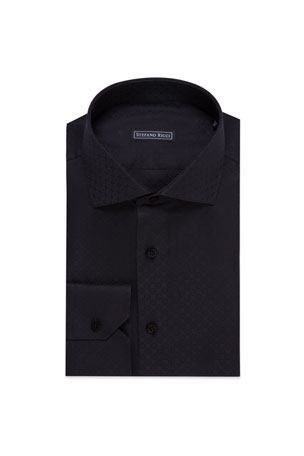 Stefano Ricci Men's Floral Jacquard Dress Shirt