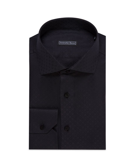 Stefano Ricci Men's Floral Jacquard Dress Shirt