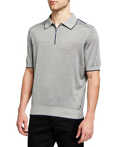 Men's Zip-Front Knit Polo Shirt