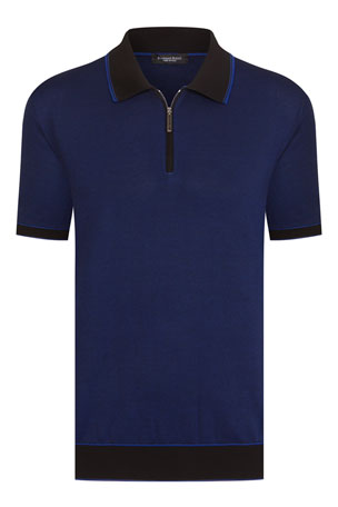 Stefano Ricci Men's Quarter-Zip Cotton-Silk Oxford Polo Shirt