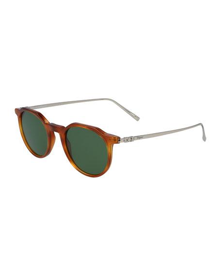 Salvatore Ferragamo Sunglasses Men's Round Metal/Acetate Gancini Sunglasses