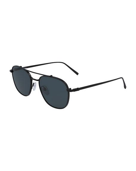Salvatore Ferragamo Sunglasses Men's Metal Aviator Double-Bridge Sunglasses