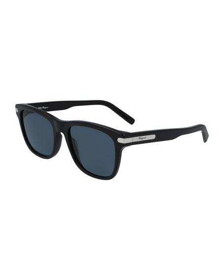 Salvatore Ferragamo Sunglasses Men's Classic Logo Square Sunglasses w/ Metal Detail