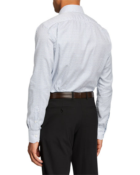 Image 2 of 2: Isaia Men's Geometric-Print Cotton Sport Shirt