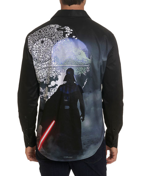 Robert Graham Men's Star Wars Lord Vader Graphic Sport Shirt
