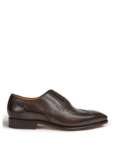 Paul Stuart Men's Milano Wing-Tip Hand-Burnished Leather Oxford Shoes