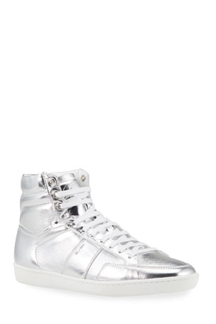 Saint Laurent Men's Metallic Court Classic High-Top Sneakers