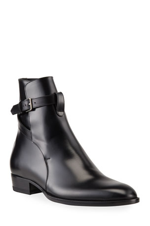 Saint Laurent Men's Jodhpur Leather Ankle-Wrap Boots