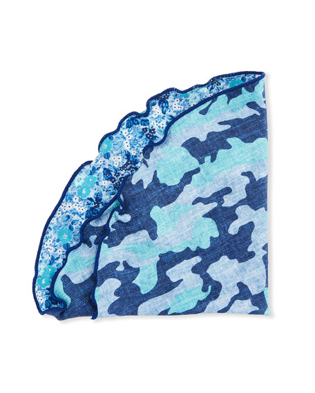 Image 1 of 2: Edward Armah Reversible Camo/Floral Pocket Square