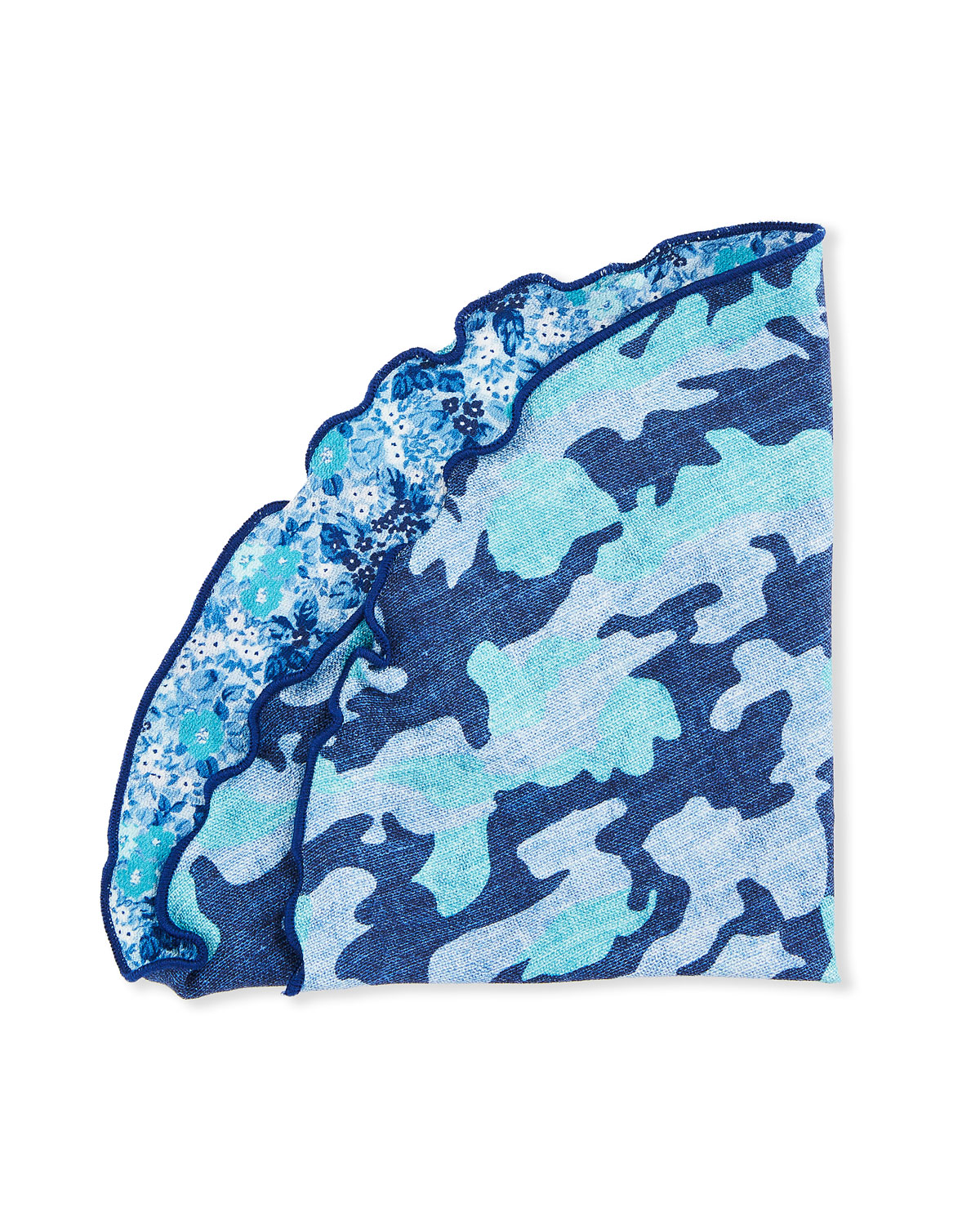 Edward Armah Reversible Camo/Floral Pocket Square