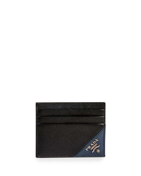 Prada Cases Men's Saffiano Leather Contrast-Logo Card Case