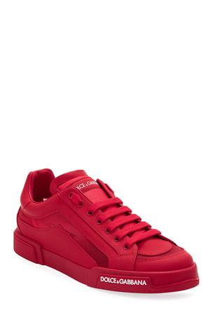 Dolce & Gabbana Men's Portofino Tonal Mesh & Leather Sneakers