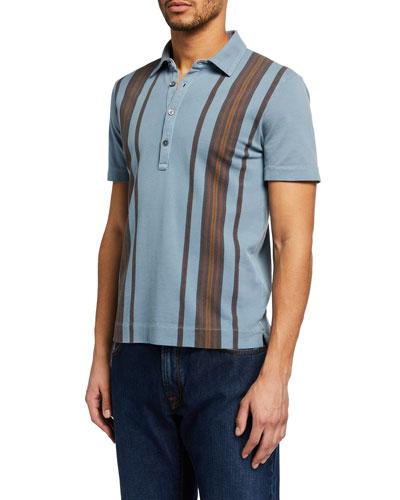 Men's Vertical Stripe Polo Shirt