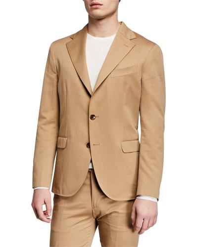 Men's Solero Solid Wool-Cotton Two-Piece Suit  Tan