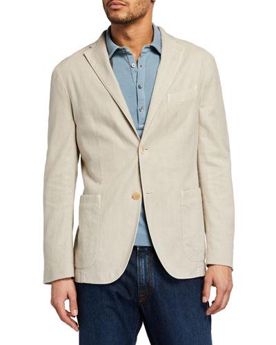 Men's Herringbone Cotton-Linen Blazer