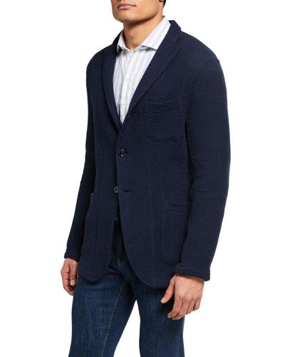 Men's Sweater-Textured Three-Button Jacket