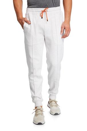 Brunello Cucinelli Men's Drawstring Banded Sweatpants