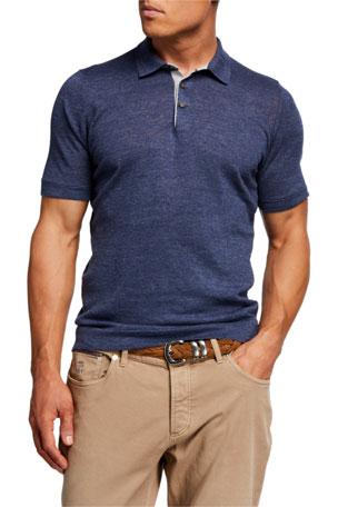 Brunello Cucinelli Men's Linen-Cotton Polo Shirt
