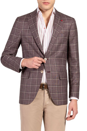 Isaia Men's Windowpane Check Sport Jacket