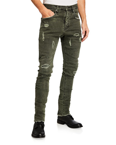 Men's Dropped-Fit Distressed Jeans