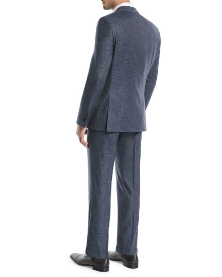BOSS Men's Melange Wool-Silk Two-Piece Suit