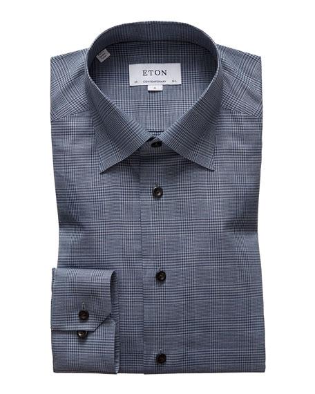 Eton Men's Contemporary Lightweight Plaid Flannel Dress Shirt with Horn Buttons