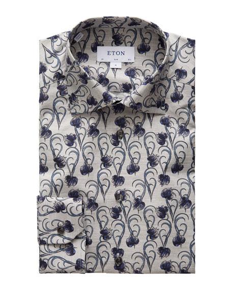 Eton Men's Lightweight Floral Flannel Dress Shirt
