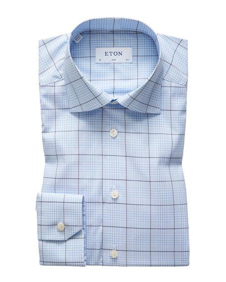 Eton Men's Slim Stretch Plaid Dress Shirt