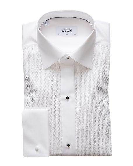 Eton Men's Slim Silver Metallic Printed Pleat Dress Shirt