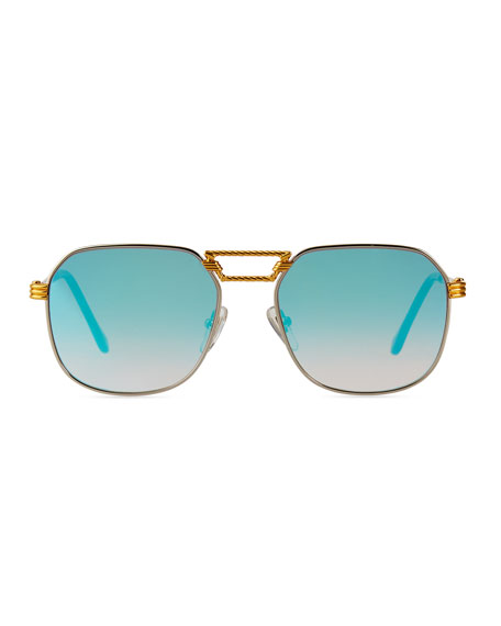 Image 2 of 3: Vintage Frames Company Men's CEO Textured Gold-Plated Gradient Sunglasses