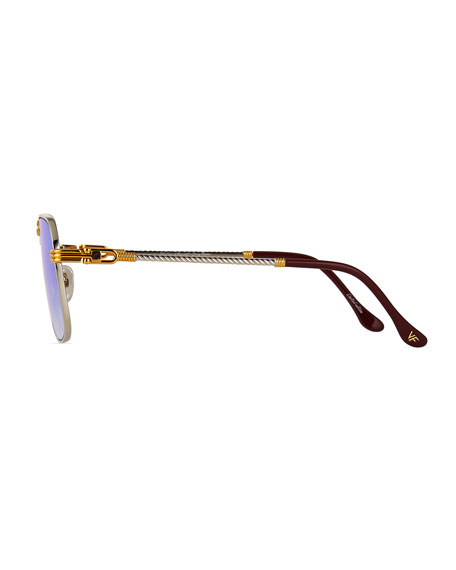 Image 3 of 3: Vintage Frames Company Men's CEO Textured Gold-Plated Gradient Sunglasses