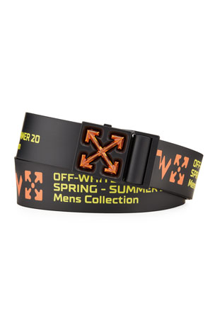 Off-White Men's Arrow Iridescent-Buckle Rubber Belt