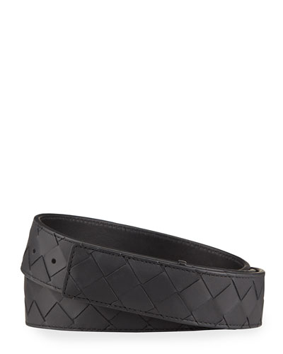 Men's Intrecciato Leather Belt with Concealed Buckle