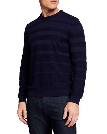 Emporio Armani Men's Horizontal Weave Crewneck Sweater