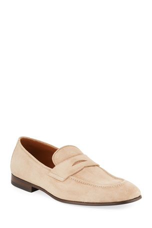 Brunello Cucinelli Men's Suede Penny Loafers