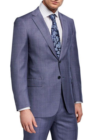 Brioni Men's Light Plaid Wool Two-Piece Suit