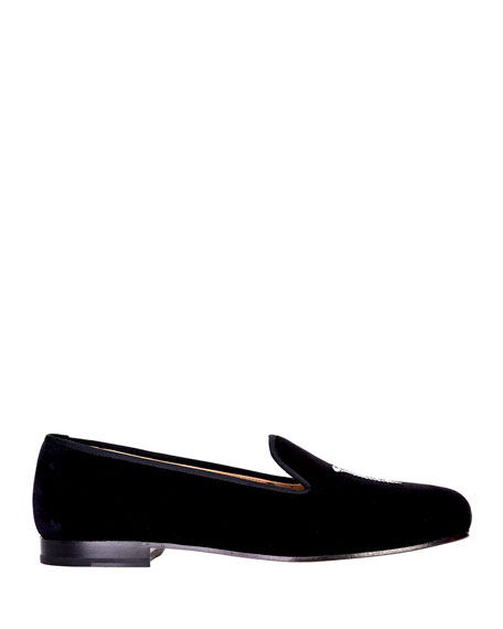 Stubbs and Wootton Men's College Embroidered Velvet Slippers