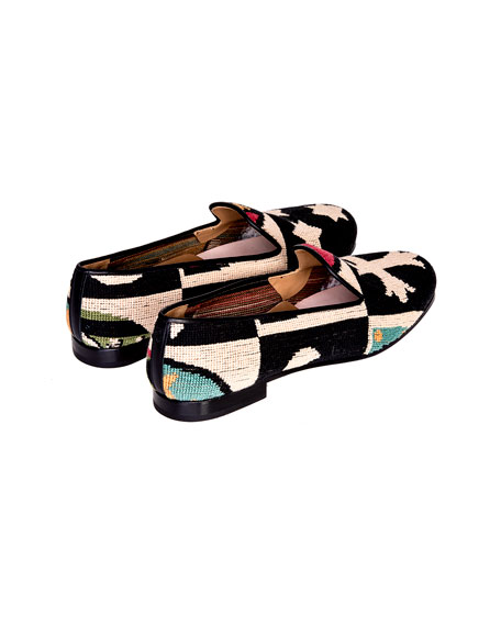 Stubbs and Wootton Men's Needlepoint Crest Loafers