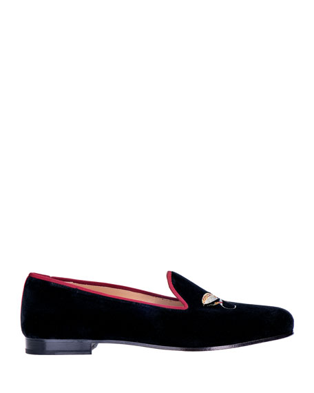 Stubbs and Wootton Men's Velvet Embroidered-Fly Loafers