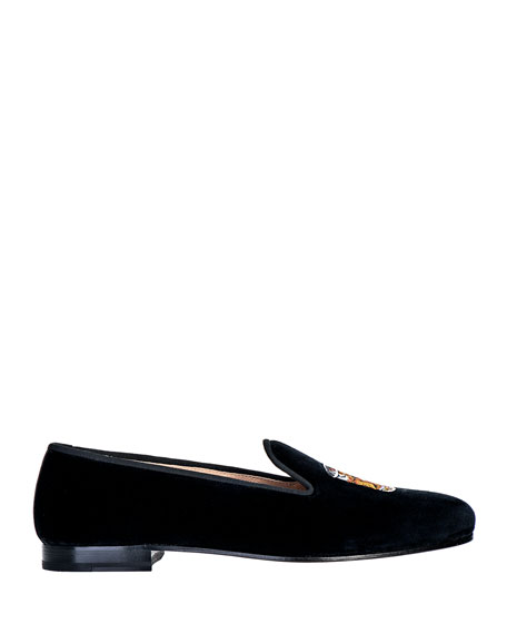 Stubbs and Wootton Men's Scotch Embroidered Velvet Loafers