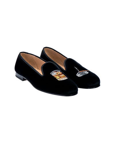 Men's Scotch Embroidered Velvet Loafers
