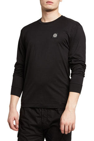 Stone Island Men's Long-Sleeve T-Shirt with Logo Patch