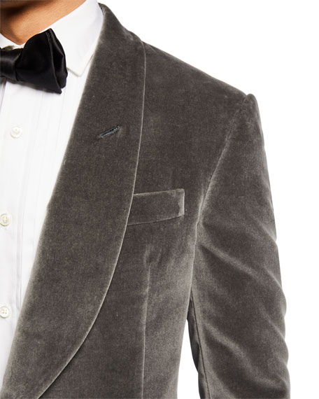 Ralph Lauren Men's Solid Velvet Dinner Jacket, Gray