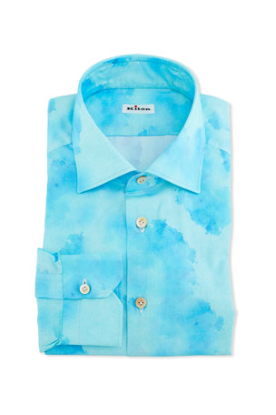 Kiton Men's Linen Blotch-Print Dress Shirt