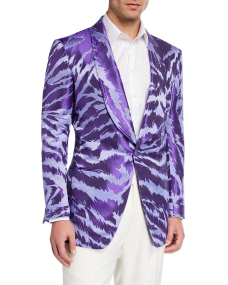Image 1 of 3: TOM FORD Men's Textured Zebra Jacquard Dinner Jacket
