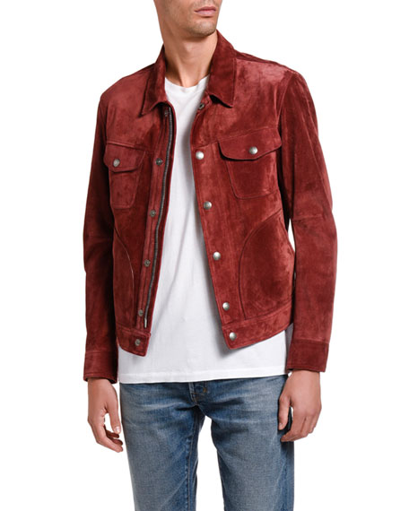Image 3 of 5: TOM FORD Men's Suede Trucker Jacket