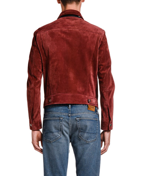 Image 4 of 5: TOM FORD Men's Suede Trucker Jacket